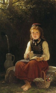 Young Girl at the Well, by Johann Georg Meyer von Bremen (PD)