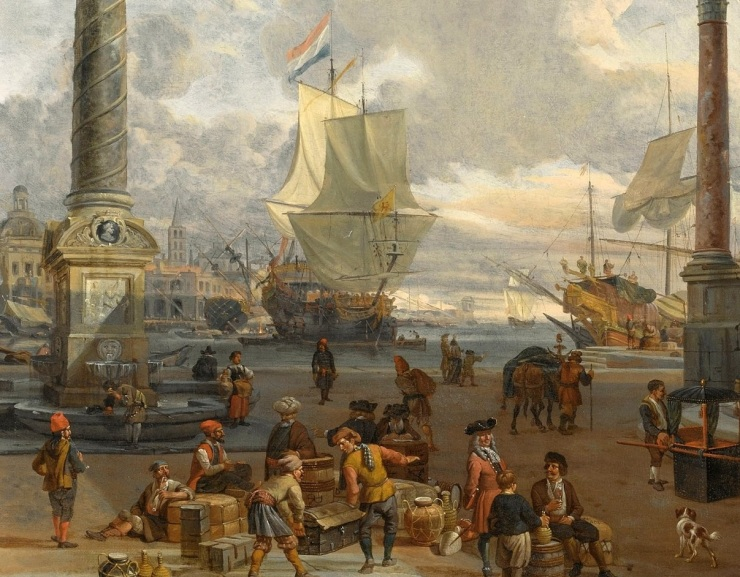 Abraham Storck, Southern harbour scene with merchants (cropped)